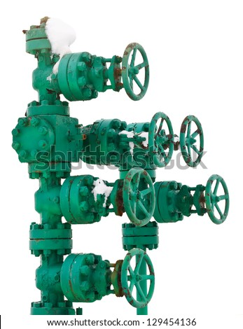 Industrial green pipe system with valves - stock photo