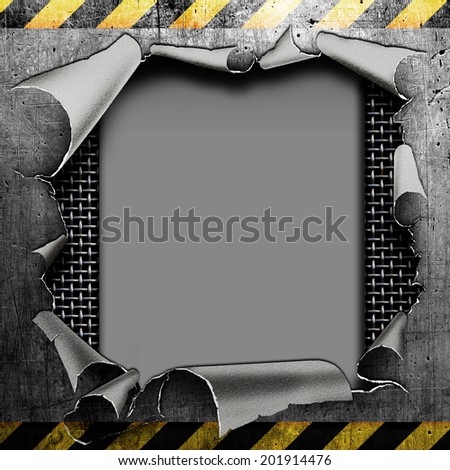 Industrial grungy steel plate with black and yellow strip and hole - stock photo