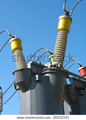 Industrial high voltage converter detail at a power plant - stock photo