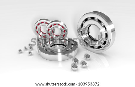 Industrial image with ball bearings on white background - stock photo