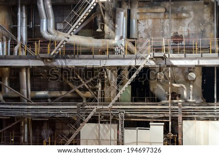 Industrial interior of old heat power plant.