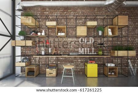 office industrial. Industrial Interior Office - 3d Render P