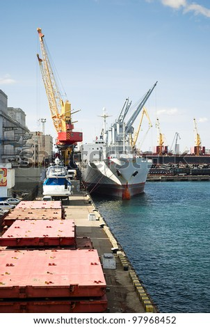 Industrial landscape of developed seaport infrastructure. - stock photo