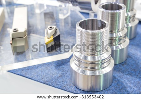 Industrial lathe tool and high precision cnc turning parts - stock photo