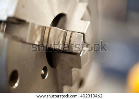 Industrial lathe tool and part of the lathe,lathe machine - stock photo