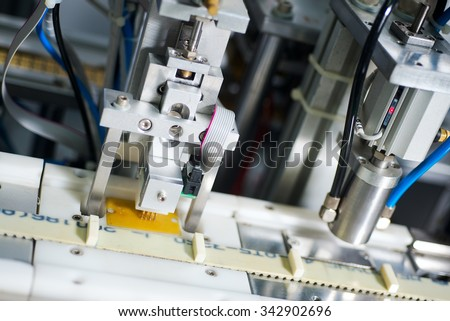 Industrial line for the production of the IC cards - stock photo