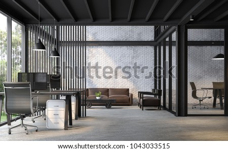 loft style office. Industrial Loft Style Office 3d Render.There Are White Brick Wall,polished Concrete Floor N