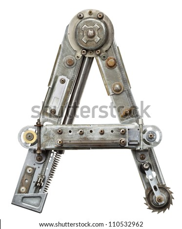 Industrial metal alphabet letter A - stock photo