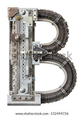 Industrial metal alphabet letter B - stock photo