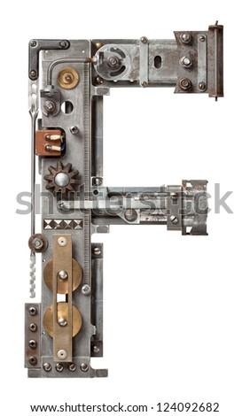 Industrial metal alphabet letter F - stock photo