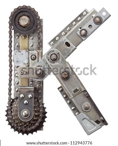 Industrial metal alphabet letter K - stock photo
