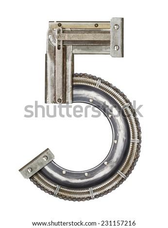 Industrial metal alphabet number 5 - stock photo