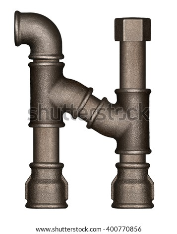 Industrial metal pipe alphabet letter N - stock photo