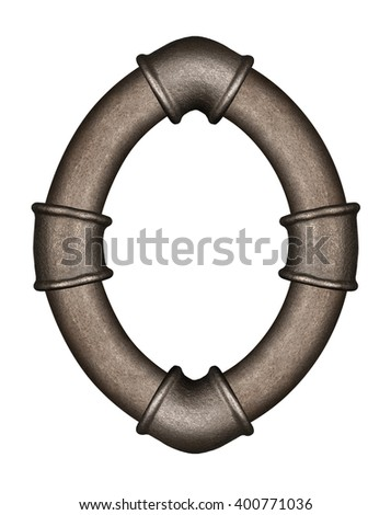 Industrial metal pipe alphabet letter O - stock photo
