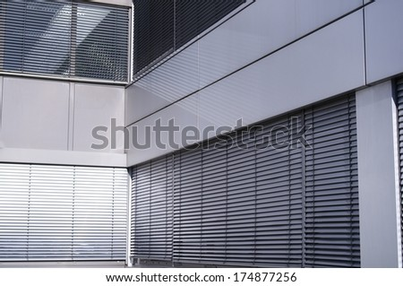 industrial metallic facade - stock photo