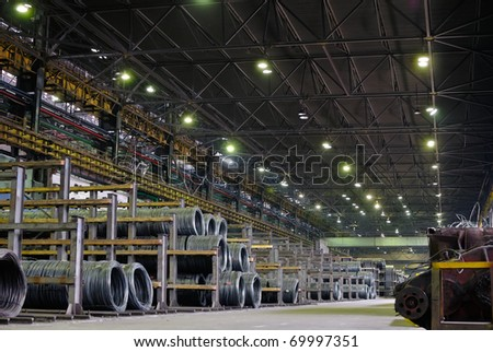 industrial metallurgical storehouse, warehouse - stock photo