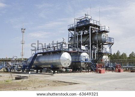 Industrial oil and gas refinery in Siberian - stock photo