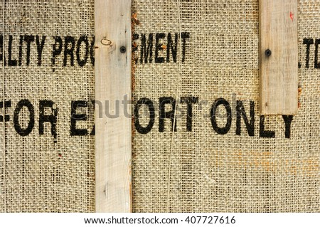 Industrial package with planks and sacking texture - stock photo