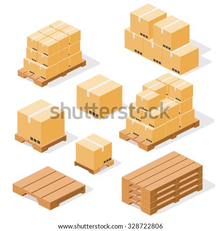 Industrial pallets and boxes for warehouse. Simple set of box and pallets isolated ob white background, made in isometric style. - stock photo
