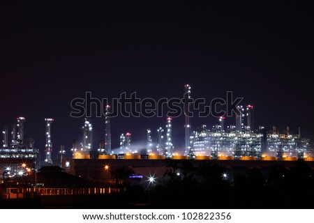 Industrial Petrochemical landscape at night Rayong Thailand