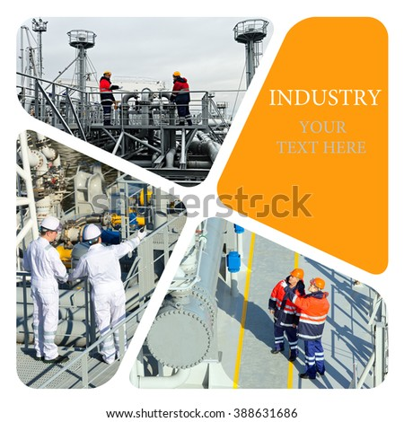Industrial photo collage. Oil And Gas Industry. Industrial. Industrial concept - stock photo