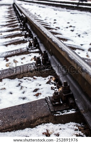 Industrial photo of railway tracks background. - stock photo