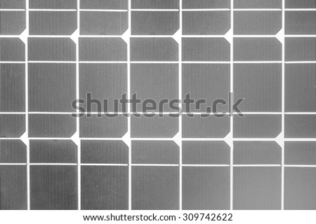Industrial photovoltaic installation Solar power in black and white. - stock photo