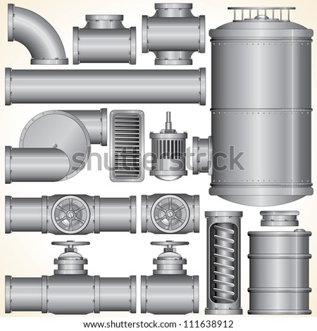 Industrial Pipeline Parts. Pipe, Tank, Valve, Motor, Shaft, Connector. - stock photo