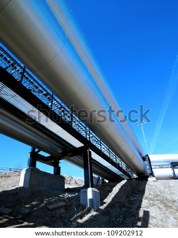 industrial pipelines - stock photo