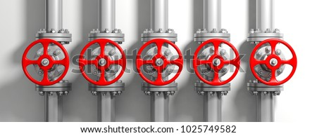 Industrial pipelines and valves with red wheels on white wall background, banner. 3d illustration