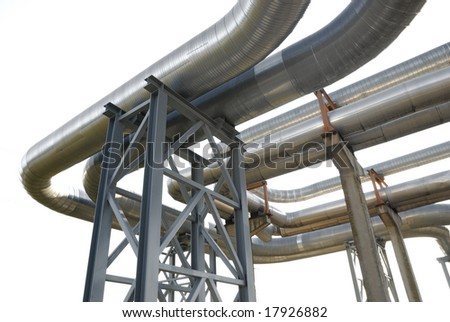 industrial pipelines on pipe-bridge