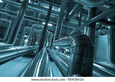 industrial pipelines toned blue - stock photo