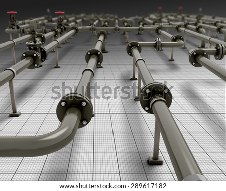 Industrial piping close-up. 3d render image. Pipes in the future. - stock photo