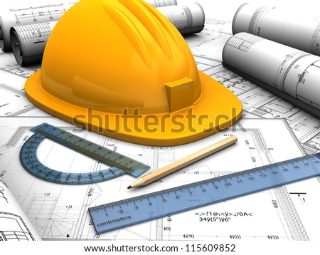 Industrial plan with helmet, pencil and rules - stock photo