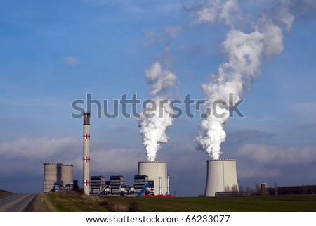 Industrial plant, factory chimneys smoke. - stock photo