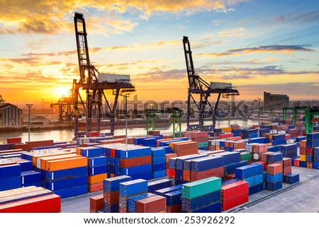 Industrial port at dawn at the Port of Casablanca, Morocco. - stock photo