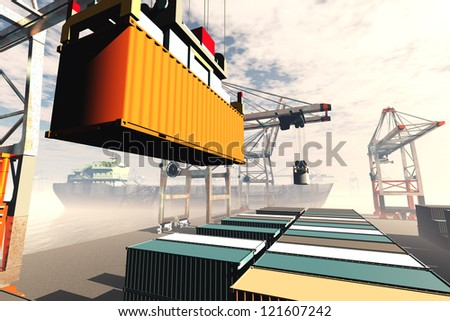 Industrial Port 3D render - stock photo