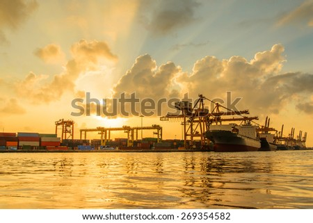 Industrial Port in morning - stock photo