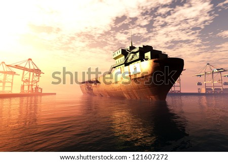 Industrial Port sunset sunrise 3D render - stock photo