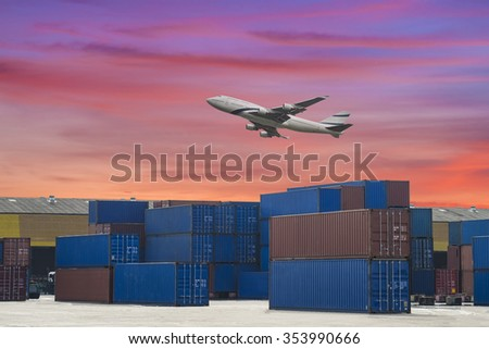 industrial port with containers and air for logistic concept - stock photo
