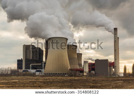 industrial power plant with cloudy sky in weisweiler, germany