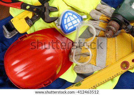 industrial protective equipment and tools - stock photo