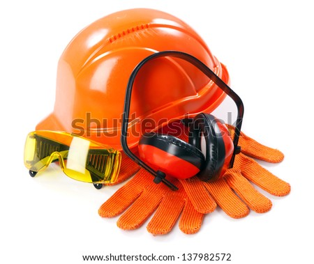 Industrial protective wear on white background