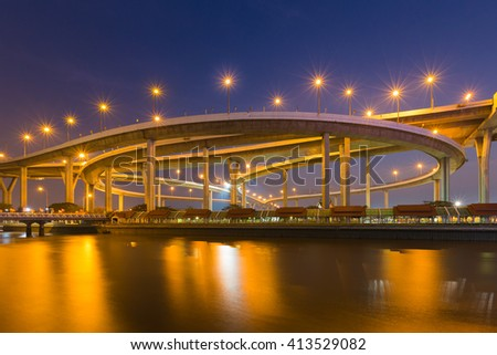Industrial Ring Road Bridge waterfront at twilight, Bangkok Thailand - stock photo