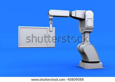 industrial robotic arm holding a customizable plate - stock photo