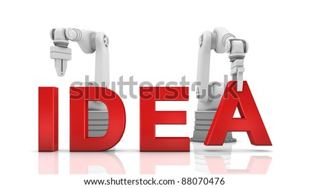 Industrial robotic arms building IDEA word on white background - stock photo