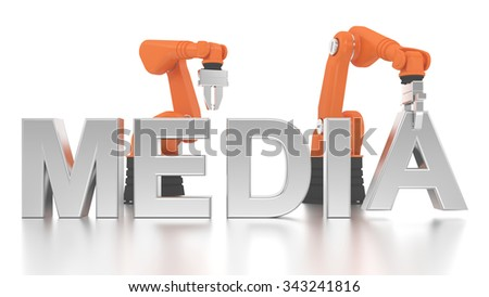 Industrial robotic arms building MEDIA word on white background - stock photo