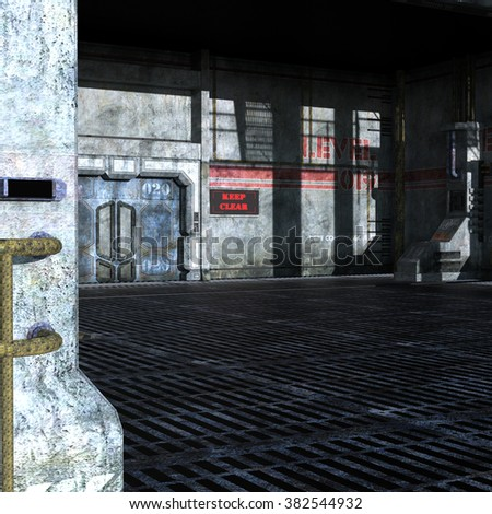 industrial room of the technical Department with iron doors, columns, and metal elements. 3D Illustration, 3D rendering