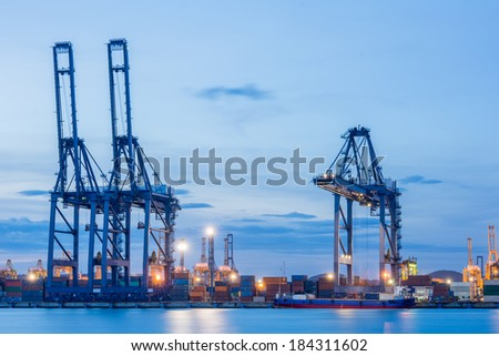 Industrial shipping port or Cargo sea port of Thailand - stock photo