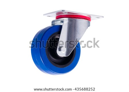 Industrial simple single steel caster without lock isolated on white background - stock photo